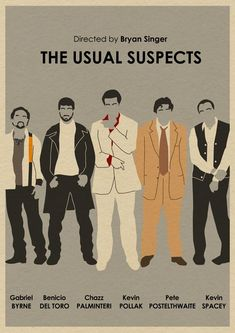 "The Usual Suspects (1995) - Dir. by Bryan Singer; Written by Christopher McQuarrie; Starring Gabriel Byrne as Dean Keaton; Stephen Baldwin as Michael McManus; Benicio del Toro as Fred Fenster; Kevin Pollak as Todd Hockne; Kevin Spacey as Roger ""Verbal"" Kint; and Chazz Palminteri as Agent Kujan #GangsterMovie #GangsterFlick"