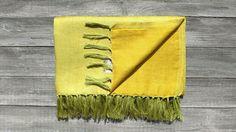 "TRIBEWOOD's LINEN BEACH BLANKET ""LINUM"" Yellow"