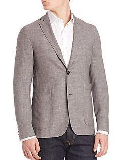 Pal Zileri Wool Slim-Fit Sportcoat - Black - Grey - Size