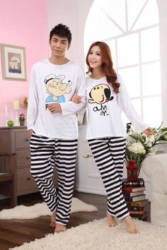 Free shipping 2013 Spring Autumn New pyjama Cartoon Popeye printing  sleepwear home wear pajama set for couples lovers  37.74 332271a91