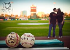Still one of my favorite Save the Date ideas! (Donna Beck Photography) sports save the dates, baseball save the dates Baseball Engagement Photos, Engagement Couple, Engagement Pictures, Engagement Shoots, Engagement Photography, Wedding Engagement, Wedding Photography, Photography Ideas, Wedding Save The Dates