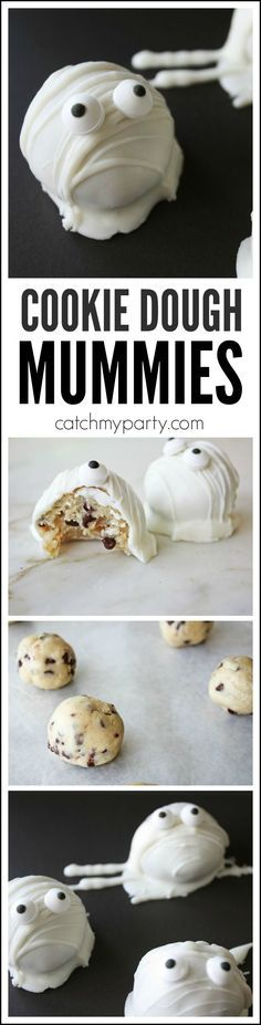 Try these cookie dough cake ball mummies for Halloween. There's no baking involved and the cookie dough is safe to eat! Try them at your Halloween party! For more Halloween party ideas check out http: (Thm No Baking Cookies) Halloween Desserts, Plat Halloween, Hallowen Food, Halloween Goodies, Halloween Food For Party, Halloween Birthday, Halloween Ideas, Halloween Candy, Halloween Food Recipes