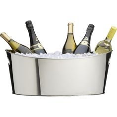 Crate & Barrel Oval Party Beverage Tub ($70) ❤ liked on Polyvore featuring home, kitchen & dining, bar tools, food, drinks, fillers, decor, food and drink and crate and barrel