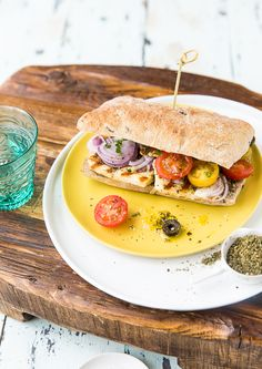 Zaatar Halloumi and Olives Sandwich with Cherry Tomatoes