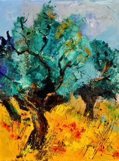 "Saatchi Online Artist: Pol Ledent; Oil, 2011, Painting ""olive trees and poppies"""
