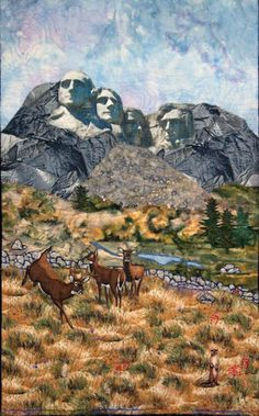 """""""Rushmore"""" by Linda Harney MacDonald,  part of the SkyLines art quilt project."""