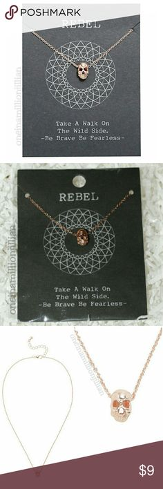 """Dainty Rebel Skull Necklace New/Carded - Never Worn  Measures 16"""" + 2 1/2"""" extender  This rose gold tone chain necklace is delicate with a side of edge - just like you! It has a teeny tiny skull charm that fits your rebellious personality perfectly.  TAKE A WALK ON THE WILD SIDE - BE BRAVE BE FEARLESS -  Check my page for more great items & discounts. #oneinamillionjillian Jewelry Necklaces"""