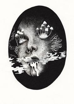 Art Sketches, Art Drawings, Arte Grunge, Creepy Art, Weird Art, Arte Horror, Psychedelic Art, Surreal Art, Aesthetic Art