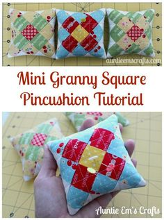 Make a mini granny square pincushion for your sewing swap and keep one for yourself! These are too cute to pass up. Scrap Fabric Projects, Small Sewing Projects, Sewing Projects For Beginners, Fabric Scraps, Sewing Hacks, Sewing Tips, Quilting Tutorials, Quilting Projects, Granny Square Quilt