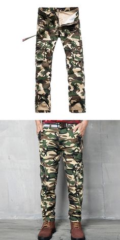YUNY Mens Camo Multi-Pocket Straight Casual Outdoor Cargo Pants Blue 38