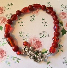 Beautiful Red Glass Vintage Heart Valentine Girlfriend Gift Stretch Heart Toggle Clasp Red Bracelet by AliceAndBettyDesigns on Etsy