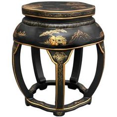 display stand China 1 set 7PC black wood carved dragon figure round EBONY base