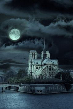 Notre Dame under a full moon