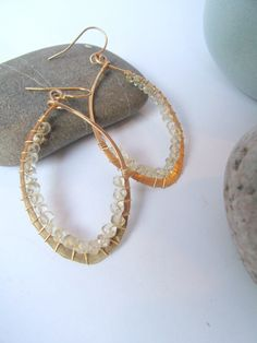 Hammered Gold Hoop Earrings Wire Wrapped Lemon Quartz.