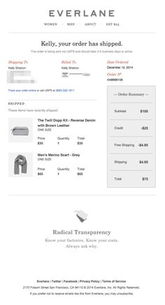 Everlane does a great job of using color to organize content with orange headers and light gray side panels. Get more email tips here: http://emaildesign.beefree.io/2016/02/best-practices-for-shipping-confirmation-emails/