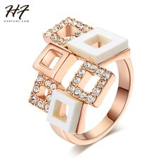 Romantic Cubic Zirconia/Ceramic Plaid Rings 18K Rose Gold Plated Fashion Crystal…