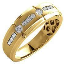 0.33 ct. t.w. Round Cut Diamond Gents Band in 14K Yellow Gold (I, I1) - Size 12
