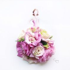 Wonderful 3D Illustrations Of Girls Wearing Dresses Made Of Real Flowers