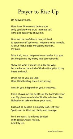 Prayer to rise up – Prayer For Anxiety Prayer Scriptures, Bible Prayers, Faith Prayer, God Prayer, Prayer Quotes, Bible Verses Quotes, Faith Quotes, Bible Verses For Hard Times, Catholic Prayers