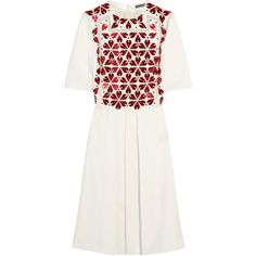 Alexander McQueen Embellished crepe dress (£1,348) ❤ liked on Polyvore featuring dresses, white, white day dress, embelished dress, loose fitted dresses, white fitted dress and crepe dress