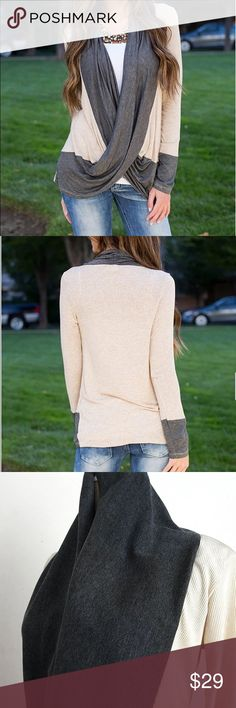 🌿Cream & Gray Long Sleeved Criss Cross Top🌿 Super cute and chic brand new cream and gray long sleeved top! Criss cross style, ribbed soft cotton material for ultimate comfort, fitted for a flattering look. Great top for any fashionista's closet! ❤️ Boutique Tops