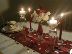 Decorating Romantic Dinner Table For That Special Dinner For Two Romantic Dinner Tables, Romantic Table Setting, Romantic Dinners, Romantic Ideas, Intimate Ideas, Romantic Dates, Valentines Day Dinner, Valentines Day Decorations, Valentine Party