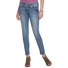 Women's Apt. 9® Embellished Skinny Jeans ($45) ❤ liked on Polyvore featuring jeans, med blue, blue slim fit jeans, slim jeans, mid rise skinny jeans, apt 9 jeans and stretchy skinny jeans