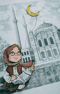 New Travel Drawing Girl Ideas Hijab Drawing, Islamic Cartoon, Anime Muslim, Hijab Cartoon, Girly Drawings, Anime Family, Cartoon Art Styles, Islamic Wallpaper, Travel Drawing