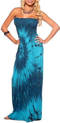 Strapless Tie Dye Printed Summer Sundress Long Evening Party Maxi Dress s M L | eBay