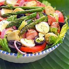 Cuban Mixed Salad - Ensalada Mixta -- a version of this salad appeared at all of our Cuban gatherings in Miami. Canned asparagus is actually preferred b/c many women, said my MIL who made the trip to Miami in the early '60s, didn't know how to cook!