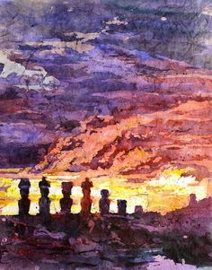 Watercolor batik painting on rice paper of Moai statues at sunset- Chile on Etsy, $39.99