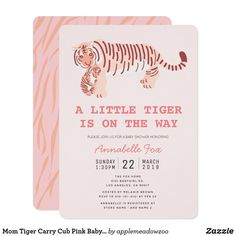 Mom Tiger Carry Cub Pink Baby Shower Invitation