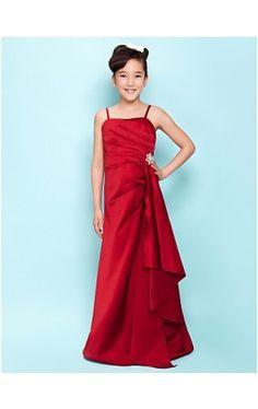e2f5f4d7b A-line Spaghetti Straps Floor-length Satin Junior Bridesmaid Dress Burgundy  Bridesmaid Dresses,