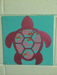 Cute turtle canvas painting