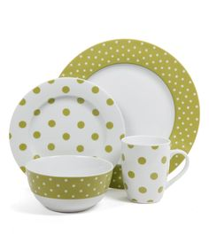 Love this Chartreuse Luxe 16-Piece Dinnerware Set by Gibson on #zulily! #zulilyfinds