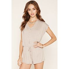 Forever 21 Women's  V-Cutout-Back Romper ($15) ❤ liked on Polyvore featuring jumpsuits, rompers, v neck romper, pink romper, forever 21, forever 21 romper and playsuit romper