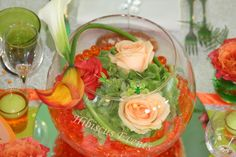 Centre de table mariage Hibiscus rose