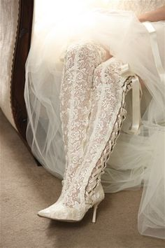 Exquisite Victorian Style Over the Knee Length Lace Bridal Boot - Ivory Pointed Toe  Chantilly Dreams is pleased to offer a collection of couture lace bridal boots, shoes and matching garters. This luxurious collection is handmade in Great Britain. We are the exclusive boutique for this heirloom quality line in New York. View the entire captivating collection at https://www.chantillydreams.com/Exclusive-Lace-Footwear_c_101.html