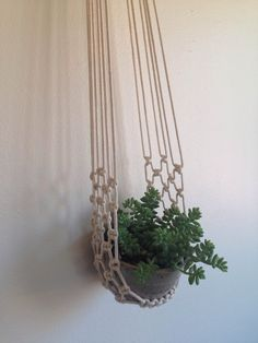 Macrame plant cradle with ceramic bowl. by FaireUnNoeud on Etsy