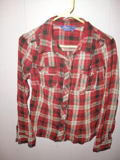 Miley Cyrus Max Azria Plaid Western Cowgirl L s Pearl Snaps Women's Shirt Top XL | eBay