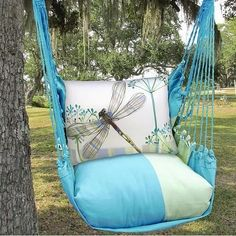 This colorful and beautiful Dragonfly Hammock Chair Swing Blue from Magnolia Casual will bring you hours of fun and relaxation. Backyard Hammock, Hammock Swing Chair, Swinging Chair, Hanging Hammock, Porch Swing Cushions, Porch Swings, Chair Cushions, Pillows, Dragonfly Decor