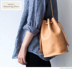 Leather Drawstring Purse, Baggu
