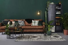 - Lilly is Love Living Room With Fireplace, Living Room Sofa, Living Room Interior, Living Room Decor, Bedroom Decor, Brown And Green Living Room, Green Rooms, Bedroom Green, Small Living Rooms