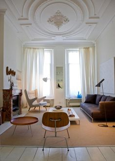 contemporary modern interior with hans wegner papa bear chair. (marie claire)
