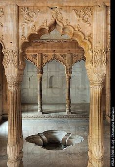 india, rajasthan, bharatpur, lohagarh fort, - a royal bath. India Architecture, Ancient Architecture, Beautiful Architecture, Beautiful Buildings, Architecture Details, Gothic Architecture, Beautiful World, Beautiful Places, Le Logis