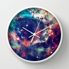 Galaxy Print Unique Wall Clock. Wall Decor. Wall Art. by cyamonday