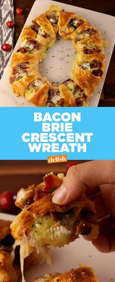 This Bacon Brie Crescent Wreath is the most genius way to use Pillsbury crescent rolls. #pillsbury #dough #crescent #crescentrolls #bacon #brie #cheese #recipes #easyrecipes
