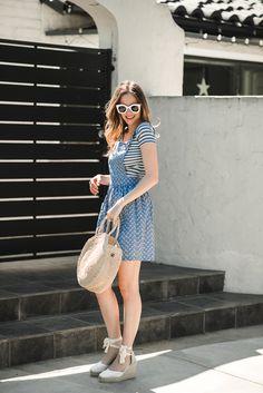 stripe tee and pinafore dress
