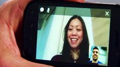 This is an example of someone using technology for video chatting on a handheld device, which shows the furthering of technology in terms of video chat capabilities, extending to a smaller platform such as a hand held device.