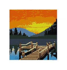 DOCK in the SUNSET Loom Tapestry/Wall by CajunsDesignPatternS, $9.95